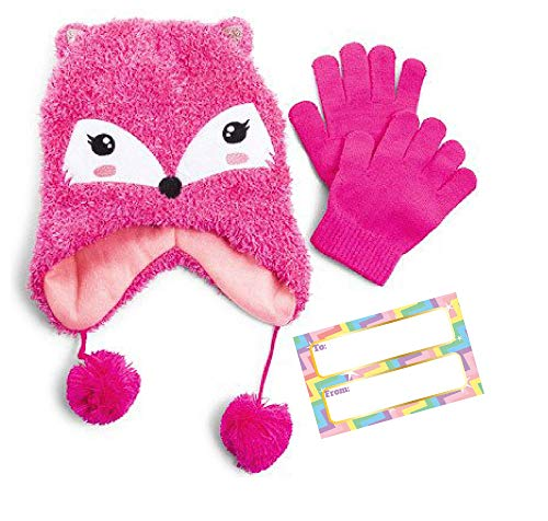 Children's Winter Beanie and Gloves, Available in 5 Different Sets JoJo Siwa, Pink Fox, Cute Panda, Blue Monster and Green Monster, Winter Gift for Kids (Pink Fox)