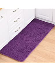 TMJJ Rectangle Chenille Non Slip Water Absorption Area Rugs For Bathroom U0026  Kitchen U0026 Bedroom,23.62 X 35.43 Inches,Purple