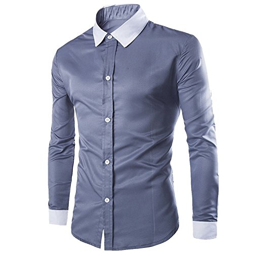 Bikinmoon Trendy Casual Premium Men's Long Sleeves GreyUS M=China L