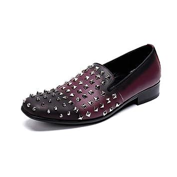 7ca8a0adf5 Zapatos De Fiesta Zapatos De Primavera Y Verano Guisantes Brillantes  Casuales De Hombre Zapatos De Cuero Rojos Planos Zapatos De Remache Zapatos  De La ...