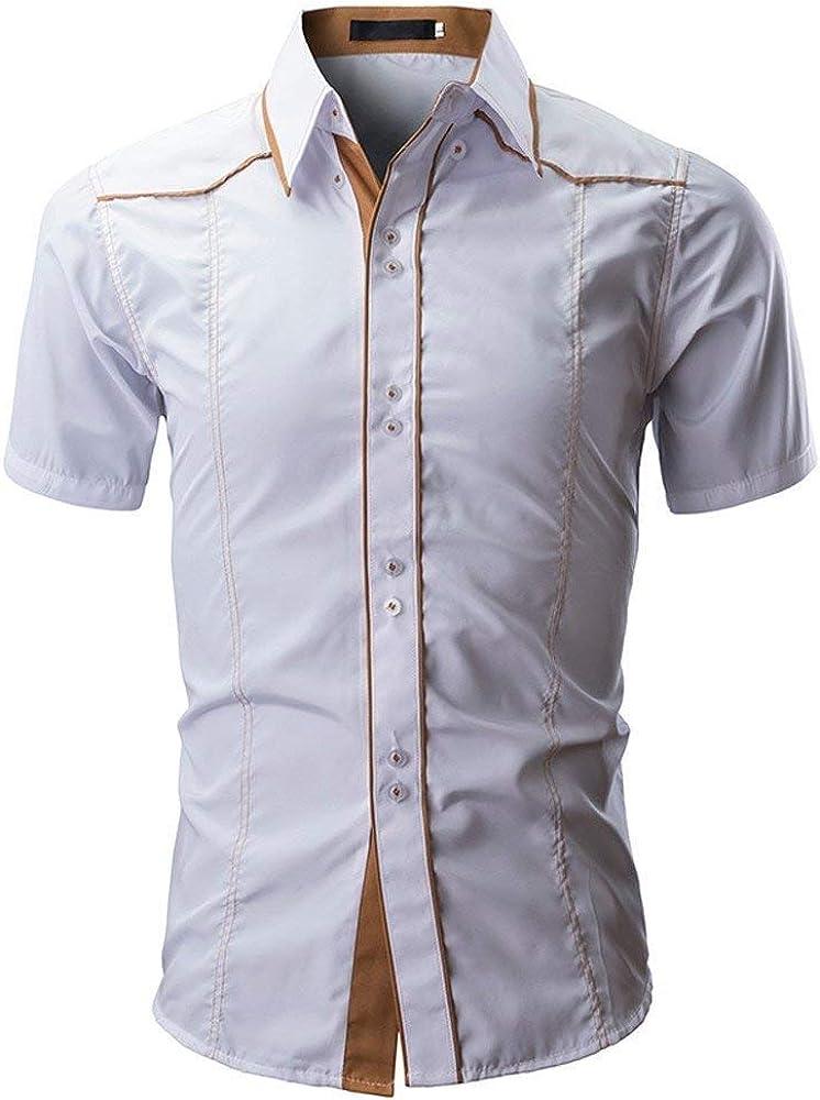 Camisas Hombres Camisa Hombres Retro De Verano Camisa Hombres De Manga Corta Camisas Hombres Camisas De Color Sólido De La Manera Algo Corto (Color : Blanco, Size : M): Amazon.es: Ropa y
