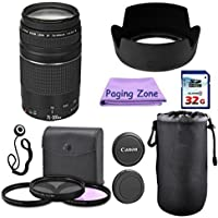 Canon EF 75-300mm III Camera Lens PagingZone Deluxe Kit with 3pc Filter Set + Lens Case + Lens Hood + 32GB Class 10 Card. For EOS 6D, 70D, 5D MK II III, Rebel T3, T3i, T4i, T5, T5i SL1.