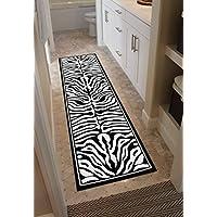 Masada Rugs, Zebra Design Runner Area Rug Black and White (2 Feet X 7 Feet 3 Inch) Runner
