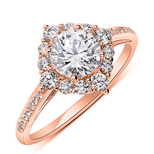 14K Rose Gold 1.2 cttw Round CZ Solitaire Wedding Engagement Halo Ring, 9 by Double Accent Wedding Collection