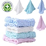 "BWINKA 12-Pack Gauze Muslin Square,11""x11"" Organics Baby Washcloths, Premium Reusable Wipes - Extra Soft For Sensitive Skin,Newborn Muslin Warm Baby Bath Towels"