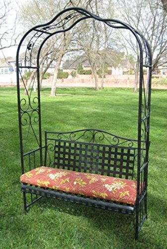 MANDALAY IRON PATIO ARBOR BENCH in ANTIQUE BLACK - PATIO FURNITURE