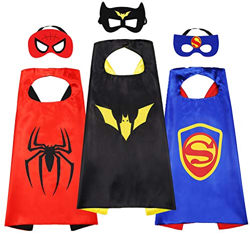 Kids Cartoon Heroes Capes - Role Playing Batman Costumes and Masks Birthday Party Gifts (Batman Cape 3pcs) ()