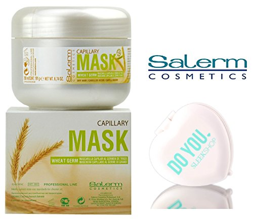 Salerm Cosmetics WHEAT GERM Capillary Mask, Provitamins B5 for Dry Hair (with Sleek Compact Mirror) (6.74 oz / 200 ml - retail size)