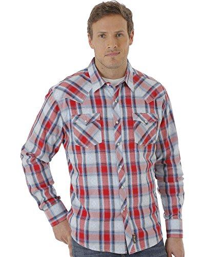 Wrangler Men's Shirt (Red/Blue) - 3