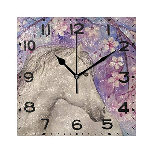 Naanle Beautiful White Horse Print Square Wall Clock, 8 Inch Battery Operated Quartz Analog Quiet Desk Clock for Home,Office,School ()