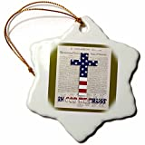 3dRose orn_22367_1 Declaration of Independence Background with Christian Cross in Usa Colors Porcelain Snowflake Ornament, 3-Inch