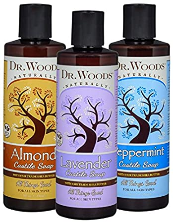 Dr  Woods Pure Liquid Castile Soap with Organic Shea Butter Variety (3  Assorted 8 Ounce Bottles)
