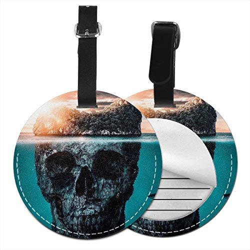 (Skull Island Round Luggage Tags Travel ID Bag Tag For Suitcase 1 PCS)
