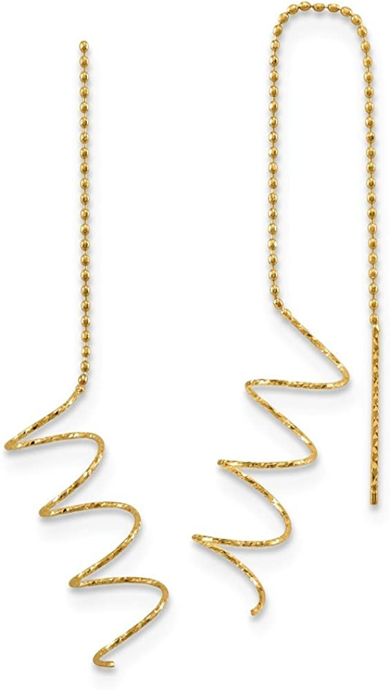 14kt Yellow Gold Polished Diamond-cut Spiral Threader Earrings