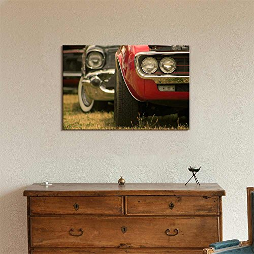 Close Up Shot of Muscle Cars Vintage Retro Style Wall Decor