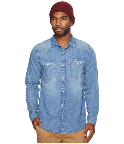 Levi's Men's Denim Long Sleeve Western Shirt Blue Medium