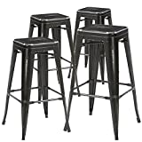 "Bronte Living 26"" Counter Height Industrial Metal Bar Stool, Backless, Distressed Rustic Black"