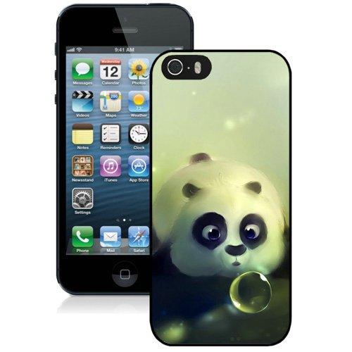 Coque,Fashion Coque iphone 5S Cute Panda Bubble Noir Screen Cover Case Cover Fashion and Hot Sale Design