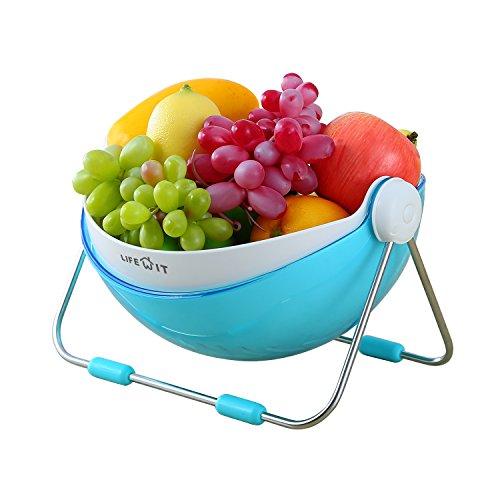 Lifewit Fruit Bowl Vegetable Washing Draining Basket 360 Rotatable Lid Display Storage Bowl Holder Blue