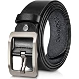 Men's Belt, OVEYNERSIN Genuine Leather Causal Dress Belt for Men with Classic Single Prong Buckle lenght