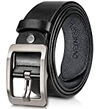 Men's Belt, OVEYNERSIN Genuine Leather Causal Dress Belt for Men with Classic Single Prong Buckle lenght 43'/110cm wide 1.38'/3.5cm