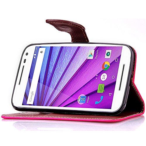 Trumpshop Smartphone Carcasa Funda Protección para Motorola Moto X Style + Marrón + PU Cuero Caja Protector Billetera con Cierre magnético la Ranura la Tarjeta Choque Absorción Rosa Roja