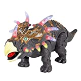 FanBell Walking Triceratops Dinosaur Toy Figure with Multicolor Lights & Loud Roar Sounds for for Boys and Girls Over 3 Years Old,Real Movement