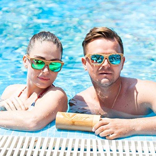 WayFarer talla Gafas verde polarizadas carbón de Ynport de vintage clásica unisex verde de flotan revestimiento de estilo única sol el bambú tipo madera agua en con xxYwrg