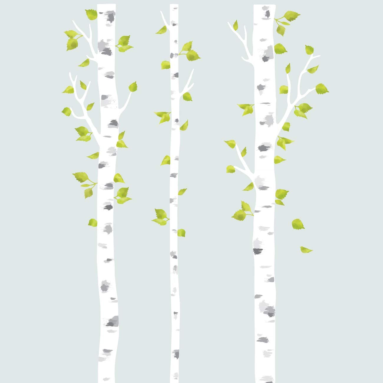 DECOWALL DLT-1714 White Birch Trees Fabric Wall Decals Wall Stickers Removable Reusable Peel and Stick for Kids Nursery Bedroom Living Room décor