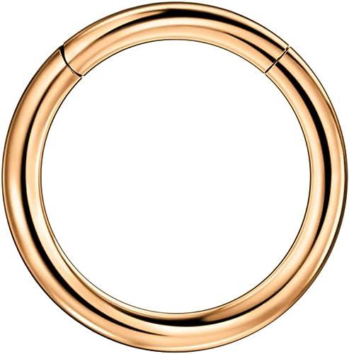 22g 20g 18g Rose Gold Gold 10mm Diameter,Silver FANSING 316l Surgical Steel Open Hoop Nose Rings for Women Men 6mm