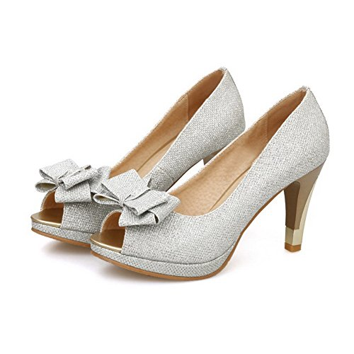 AllhqFashion Womens Soft Material Open Toe High Heels Pull On Sandals Silver E1yUxk0P