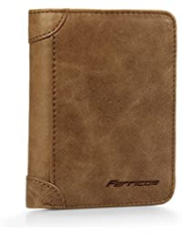 Genuine Cowhide Leather Extra Capacity RFID Blocking Men Trifold Wallet