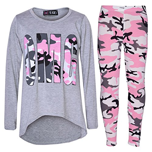 Girls Top Kids Designer's OMG Camouflage Print Shirt Tops & Legging Set 7-13 Yr