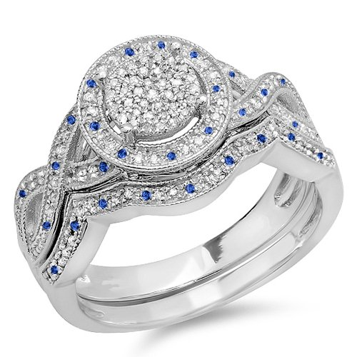 Sterling Silver Blue Sapphire & White Diamond Womens Engagement Ring Set (Size 7.5)