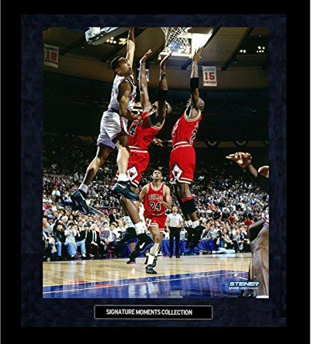John Starks Dunk Vs Bulls Framed Golden Moments 16x20 Photo