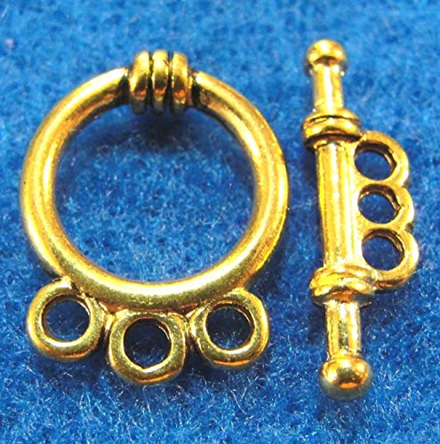 10Sets Tibetan Antique Gold 3-Strand Toggle Clasps Hooks Jewelry Findings C348 Jewelry Making Supply Pendant Bracelet DIY Crafting by Wholesale Charms