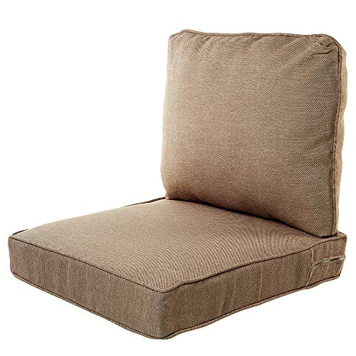 Quality Outdoor Living All Weather Deep Seating Patio Chair Seat and Back Cushion Set, 22-Inch by 25-Inch, Tan (Pack of ()