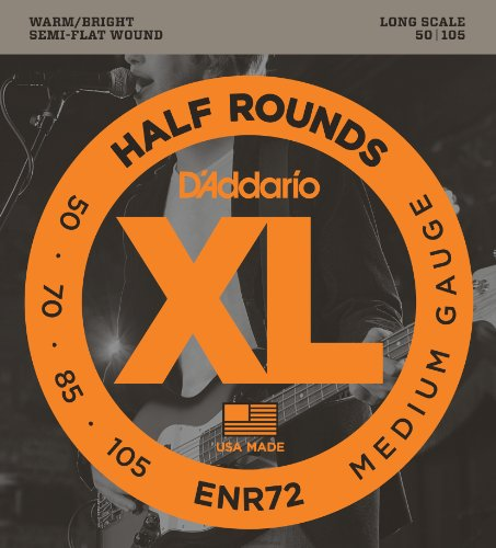 D'Addario ENR72 Half Round Bass Guitar Strings, Medium, 50-105, Long Scale Daddario Nickel Bass Strings