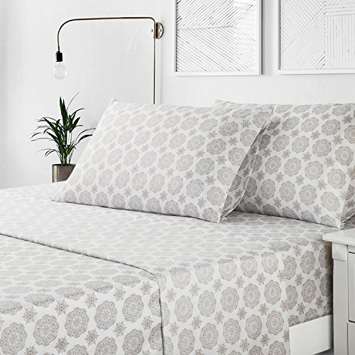 Bedsure Medallion Floral Printed Sheet Set Twin Size Grey Deep Pocket 3 Pieces Sheets and Pillowcase (Printed Set Twin)