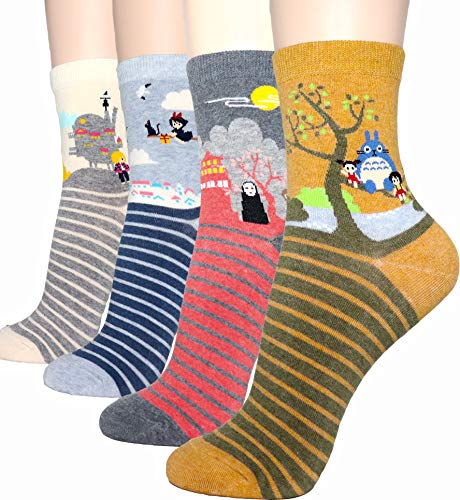 DearMy Womens Cute Design Casual Cotton Crew Socks | Good for Gift Idea| One Size Fits All | Gifts for Women (Ghibli 4 ()