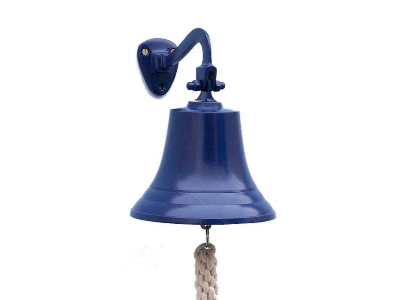 Hampton Nautical BL-2019-7-Blue Solid Brass Hanging Ship's Bell 9'' - Blue Powder Coated - Nautical Decor - Nautical Home Decoration