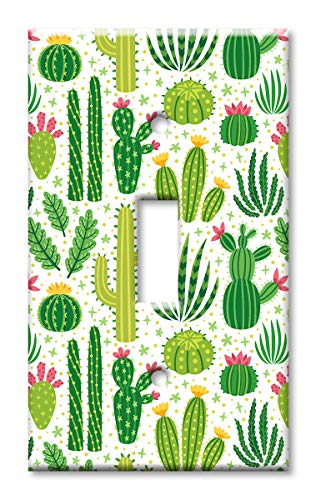 Art Plates 1-Gang Toggle OVERSIZE Switch Plate/OVER SIZE Wall Plate - Cactus (Cover Switch Cactus)
