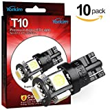 #8: Yorkim 194 LED Bulbs White 6000k Super Bright Newest 5th Generation Universal Fit Pack of 10, T10 LED Bulbs, 168 LED Bulb White T10, 2825 LED Bulb, W5W LED Bulb, 194 LED Interior Lights for Car