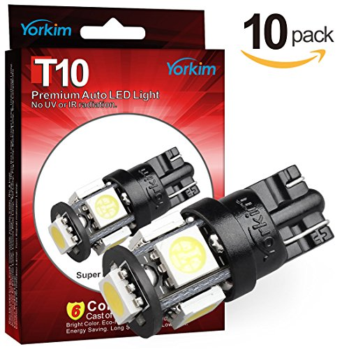 Yorkim 194 LED Bulbs White 6000k Super Bright Newest 5th Generation Universal Fit Pack of 10, T10 LED Bulbs, 168 LED Bulb White T10, 2825 LED Bulb, W5W LED Bulb, 194 LED Interior Lights for Car