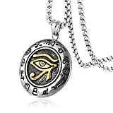 HZMAN Men's Stainless Steel Egypt Eye of Horus Symbol of Protection Pendant Necklace (Silver & Gold)