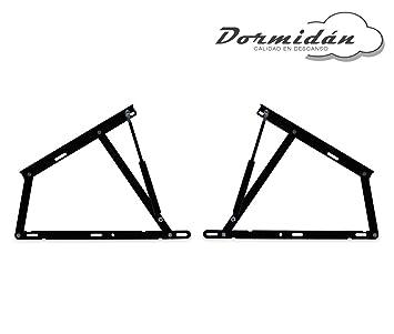Dormidán - Pack 2 Sistema de elevación con amortiguadores, bisagras + resortes de Gas para canape abatible (1500 Newton): Amazon.es: Hogar