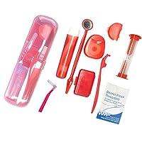Boxed Portable Orthodontic Care Kit Orthodontic Toothbrush Kit for Braces for Orthodontic Patient Travel Oral Care Kit Dental Travel Kit Interdental Brush Dental Wax Dental Floss (8 Pcs/Pack)-Red