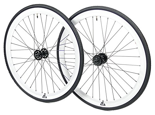 Retrospec Bicycles Mantra Fixed-Gear/Single-Speed Wheel Set with 700cm x 23C Kenda Kwest Tires and Sealed Hubs, White