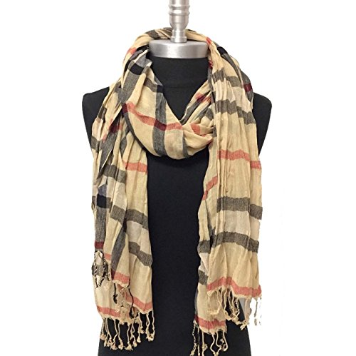 (Women Soft Classic Plaid Checked Crinkle Long Scarf Shawl Stole Wrao Camel - Black - Red - Beige)