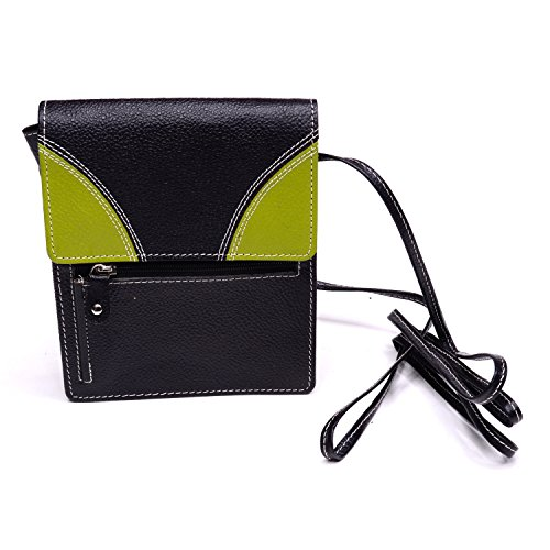 Cow Hide Leather Cross Body Hand Bag (Black and (Cow Hide Bag)